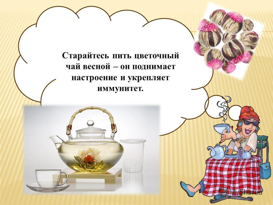 Чай отлично действует на кору головного мозга, благодаря содержанию в нём ксантонов именно они и дают основной стимулирующий эффект, вызывают лёгкость и быстроту мышления.