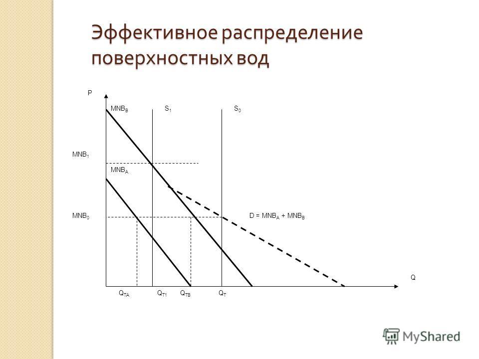 Эффективное распределение поверхностных вод Q T1 Q TB Q TA QTQT MNB 0 MNB 1 D = MNB A + MNB B MNB B MNB A P Q S0S0 S1S1