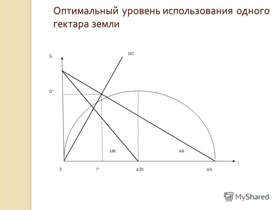 Оптимальный уровень использования одного гектара земли Q MC ARMR 0l*a/2ba/b l Q*Q*