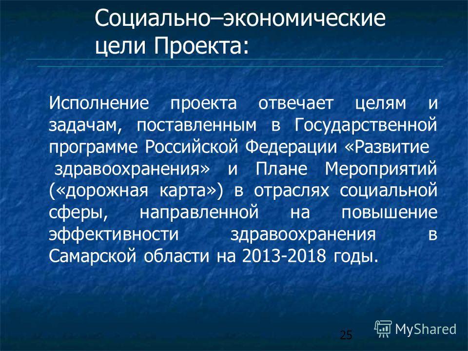 25 Исполнение проекта отвечает целям и задачам, поставленным в Государственной программе Российской Федерации «Развитие здравоохранения» и Плане Мероприятий («дорожная карта») в отраслях социальной сферы, направленной на повышение эффективности здрав