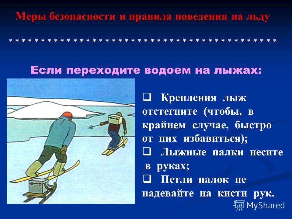 Меры безопасности и правила поведения на льду * * * * * * * * * * * * * * * * * * * * * * * * * * * * * * * * * * * * * * * * * * Крепления лыж отстегните (чтобы, в крайнем случае, быстро от них избавиться); Лыжные палки несите в руках; Петли палок н