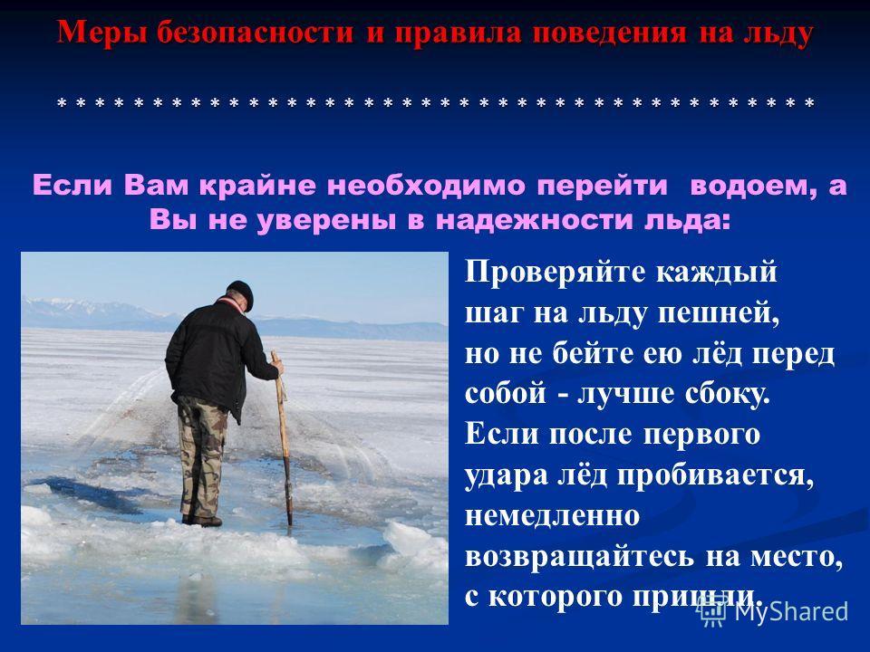 Меры безопасности и правила поведения на льду * * * * * * * * * * * * * * * * * * * * * * * * * * * * * * * * * * * * * * * * Проверяйте каждый шаг на льду пешней, но не бейте ею лёд перед собой - лучше сбоку. Если после первого удара лёд пробивается