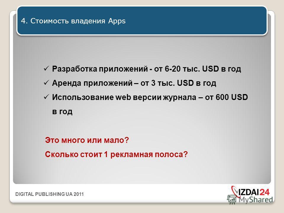 DIGITAL PUBLISHING UA 2011 4. Стоимость владения Apps Разработка приложений - от 6-20 тыс. USD в год Аренда приложений – от 3 тыс. USD в год Использование web версии журнала – от 600 USD в год Это много или мало? Сколько стоит 1 рекламная полоса?
