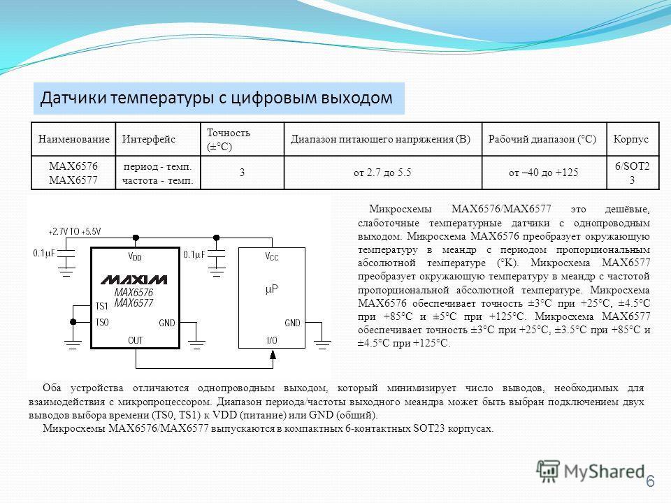 Датчики температуры с цифровым выходом 6 Микросхемы MAX6576/MAX6577 это дешёвые, слаботочные температурные датчики с однопроводным выходом. Микросхема MAX6576 преобразует окружающую температуру в меандр с периодом пропорциональным абсолютной температ