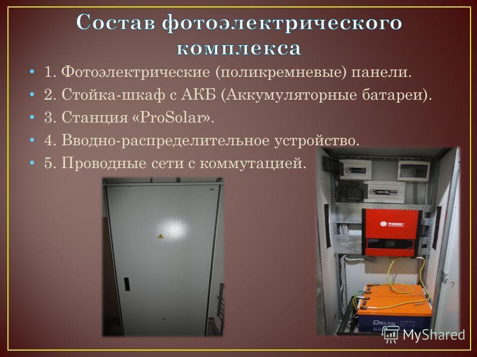 1. Фотоэлектрические (поликремниевые) панели. 2. Стойка-шкаф с АКБ (Аккумуляторные батареи). 3. Станция «ProSolar». 4. Вводно-распределительное устройство. 5. Проводные сети с коммутацией.