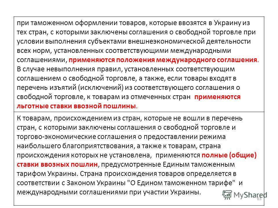 при таможенном оформлении товаров, которые ввозятся в Украину из тех стран, с которыми заключены соглашения о свободной торговле при условии выполнения субъектами внешнеэкономической деятельности всех норм, установленных соответствующими международны