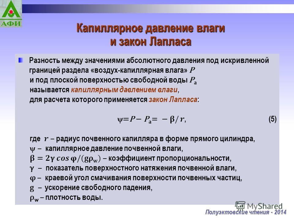 Капиллярное давление влаги и закон Лапласа Полуэктовские чтения - 2014