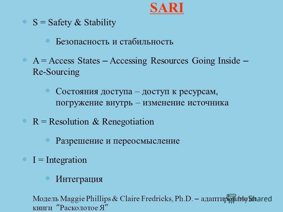 SARI S = Safety & Stability Безопасность и стабильность A = Access States – Accessing Resources Going Inside – Re-Sourcing Состояния доступа – доступ к ресурсам, погружение внутрь – изменение источника R = Resolution & Renegotiation Разрешение и пере