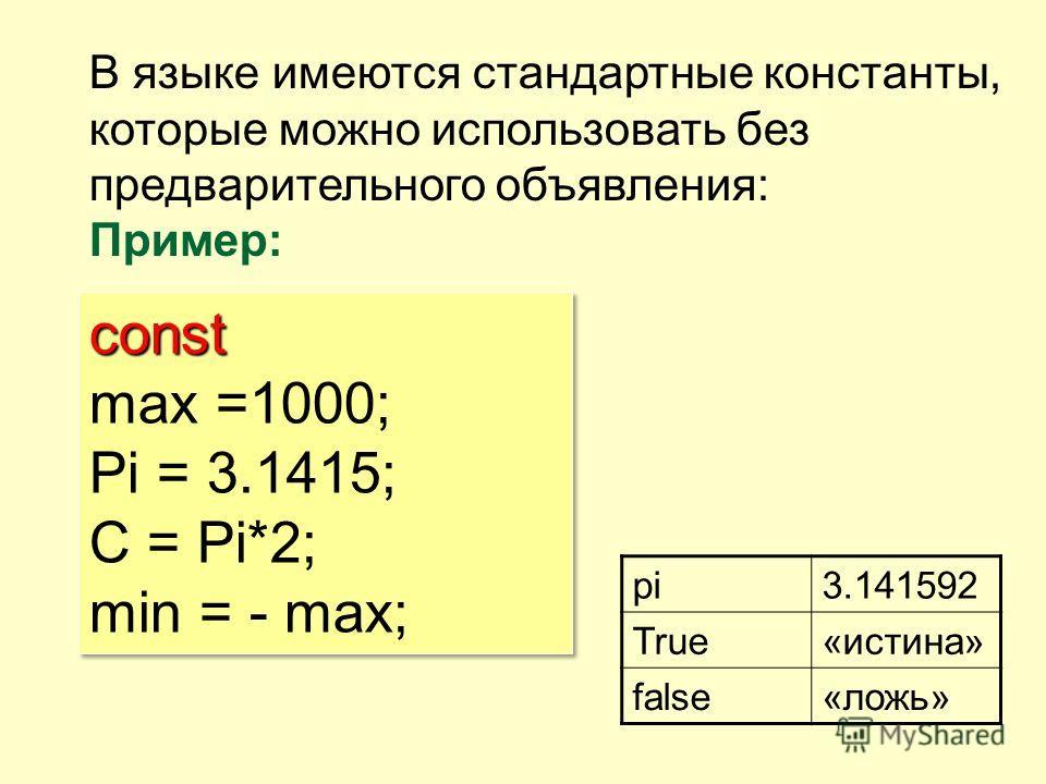 В языке имеются стандартные константы, которые можно использовать без предварительного объявления: Пример: pi3.141592 True«истина» false«ложь» const max =1000; Pi = 3.1415; С = Pi*2; min = - max;const