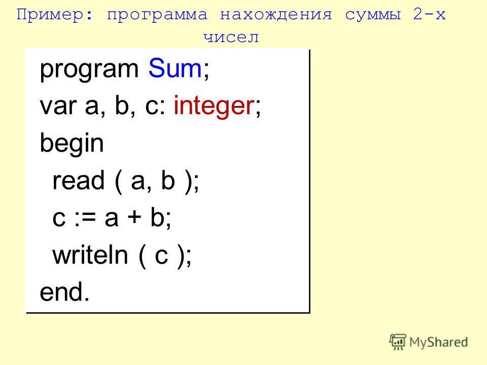 program Sum; var a, b, c: integer; begin read ( a, b ); c := a + b; writeln ( c ); end. program Sum; var a, b, c: integer; begin read ( a, b ); c := a + b; writeln ( c ); end. Пример: программа нахождения суммы 2-х чисел