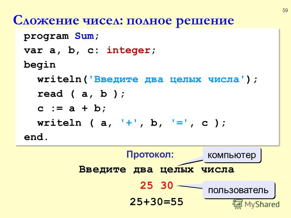 Сложение чисел: полное решение 59 program Sum; var a, b, c: integer; begin writeln('Введите два целых числа'); read ( a, b ); c := a + b; writeln ( a, '+', b, '=', c ); end. program Sum; var a, b, c: integer; begin writeln('Введите два целых числа');