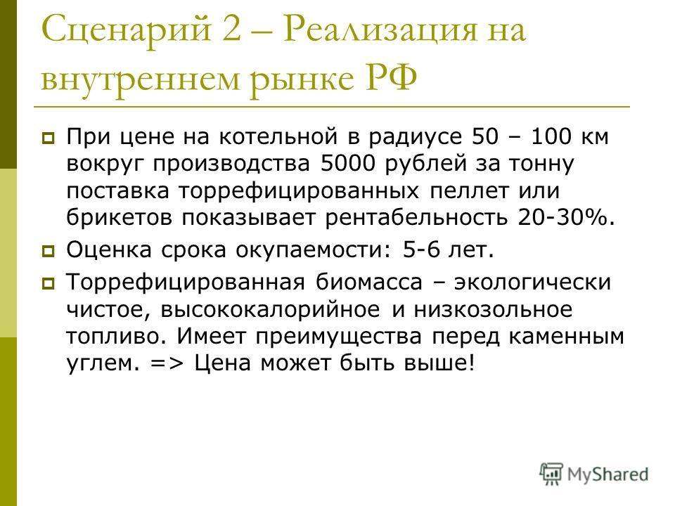 Сценарий 2 – Реализация на внутреннем рынке РФ При цене на котельной в радиусе 50 – 100 км вокруг производства 5000 рублей за тонну поставка торрефицированных пеллет или брикетов показывает рентабельность 20-30%. Оценка срока окупаемости: 5-6 лет. То