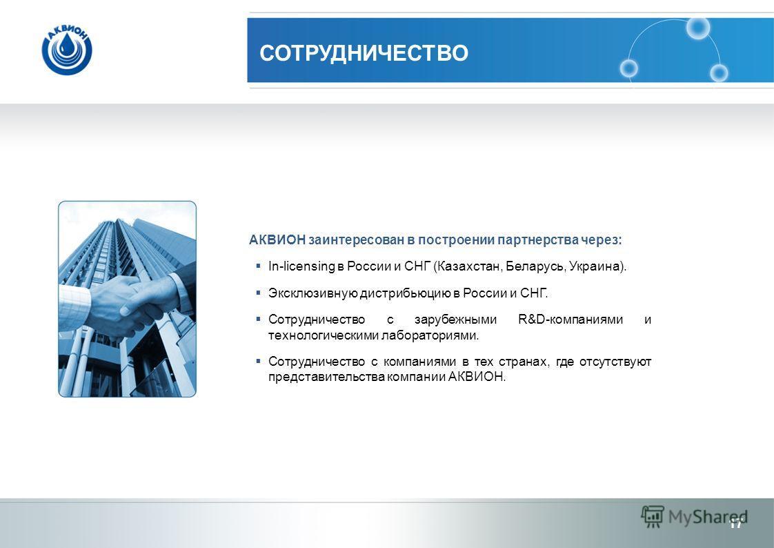 АКВИОН заинтересован в построении партнерства через: In-licensing в России и СНГ (Казахстан, Беларусь, Украина). Эксклюзивную дистрибьюцию в России и СНГ. Сотрудничество с зарубежными R&D-компаниями и технологическими лабораториями. Сотрудничество с