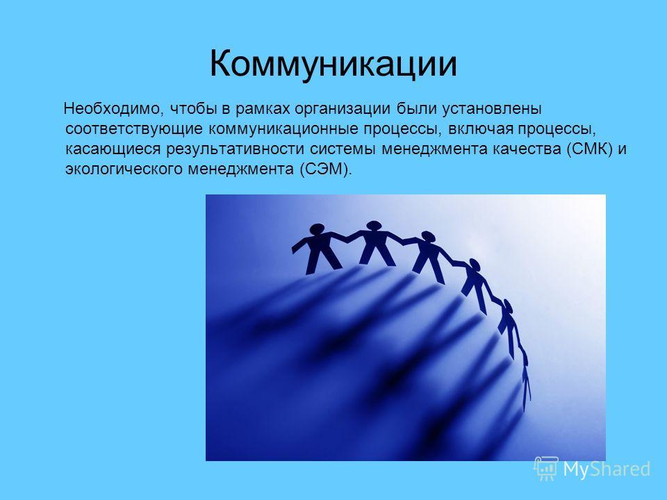 Коммуникации Необходимо, чтобы в рамках организации были установлены соответствующие коммуникационные процессы, включая процессы, касающиеся результативности системы менеджмента качества (СМК) и экологического менеджмента (СЭМ).