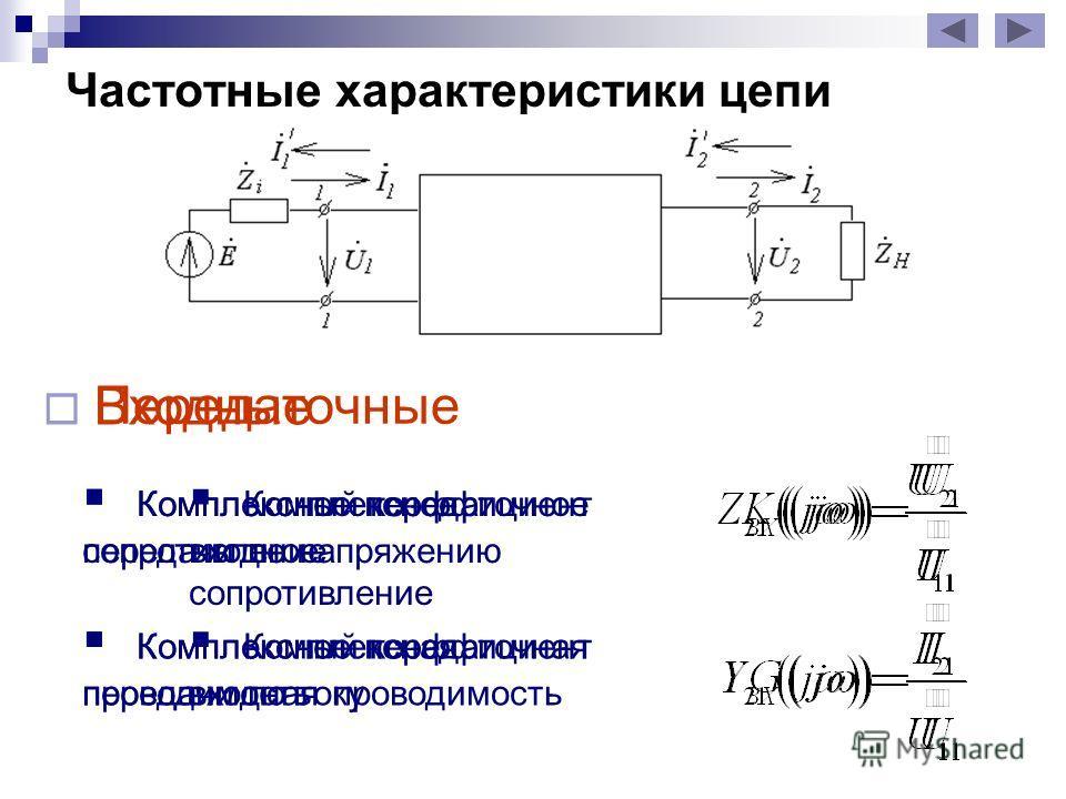 Частотные характеристики цепи Входные Комплексная входная проводимость Комплексное входное сопротивление Передаточные Комплексный коэффициент передачи по напряжению Комплексный коэффициент передачи по току Комплексное передаточное сопротивление Компл