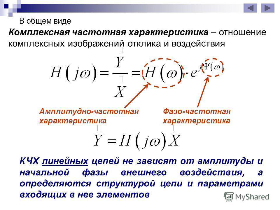 В общем виде Комплексная частотная характеристика – отношение комплексных изображений отклика и воздействия Амплитудно-частотная характеристика Фазо-частотная характеристика КЧХ линейных цепей не зависят от амплитуды и начальной фазы внешнего воздейс