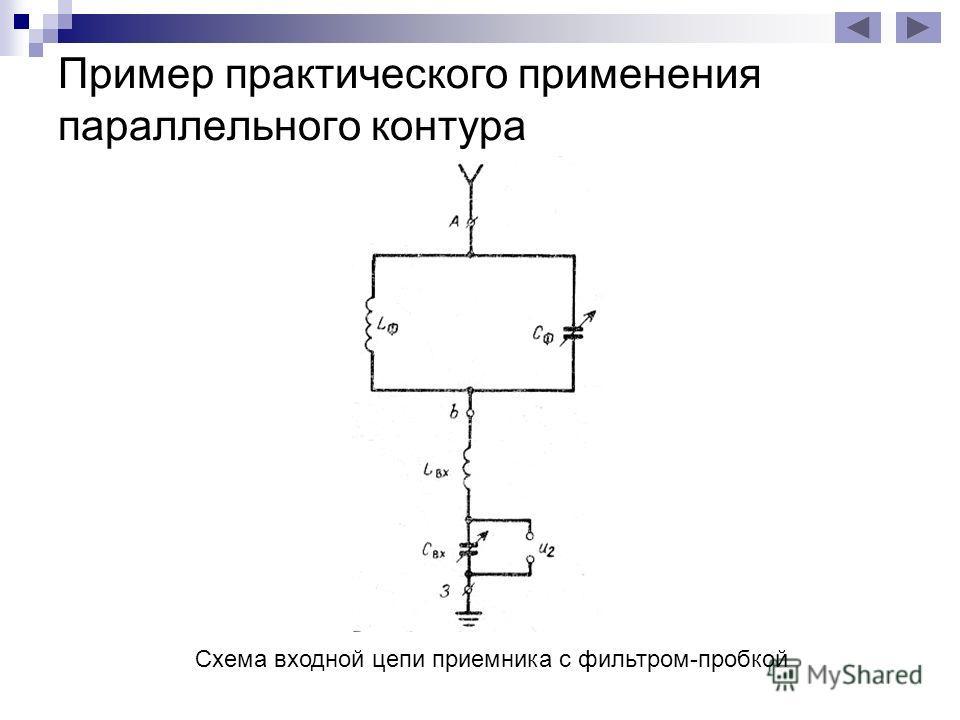 Пример практического применения параллельного контура Схема входной цепи приемника с фильтром-пробкой