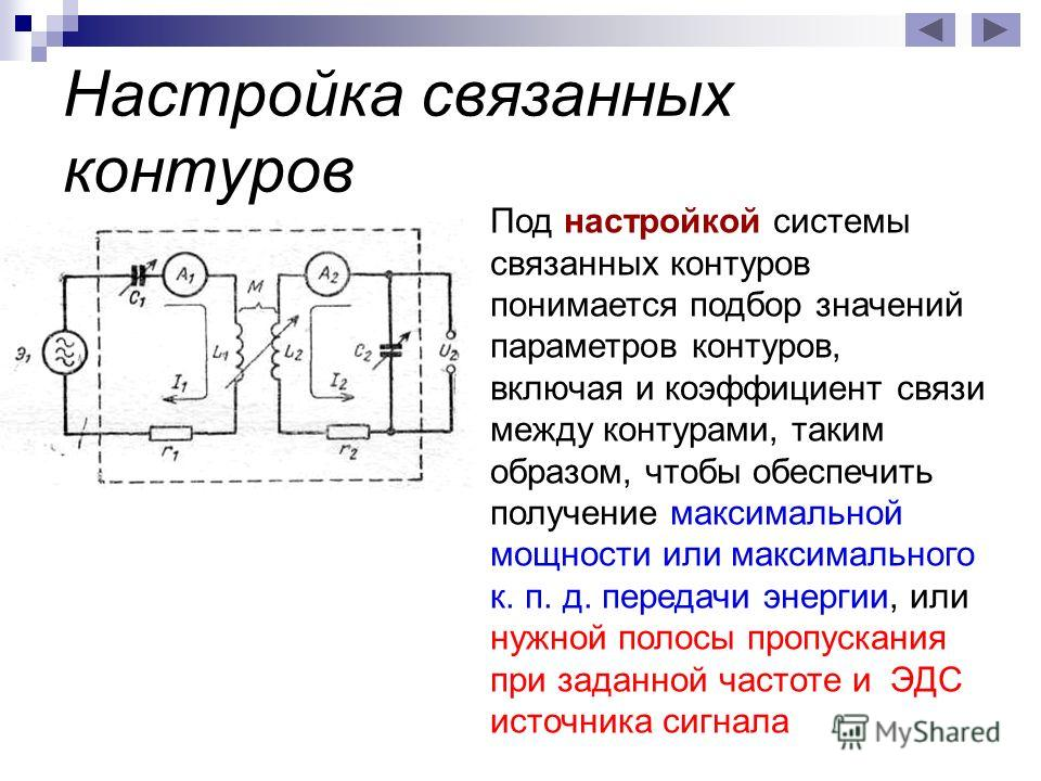 Настройка связанных контуров Под настройкой системы связанных контуров понимается подбор значений параметров контуров, включая и коэффициент связи между контурами, таким образом, чтобы обеспечить получение максимальной мощности или максимального к. п