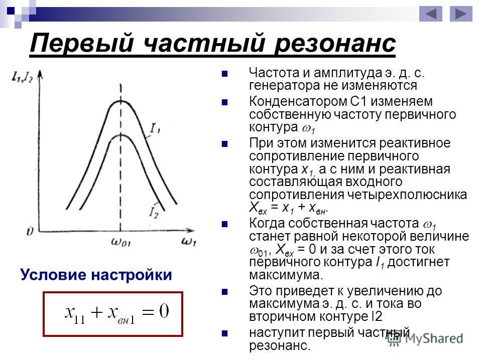 Первый частный резонанс Частота и амплитуда э. д. с. генератора не изменяются Конденсатором С1 изменяем собственную частоту первичного контура 1 При этом изменится реактивное сопротивление первичного контура х 1, а с ним и реактивная составляющая вхо