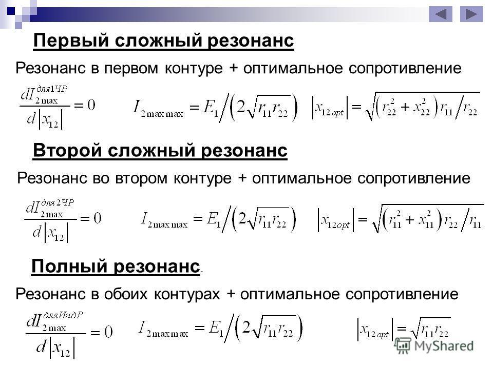 Первый сложный резонанс Резонанс в первом контуре + оптимальное сопротивление Второй сложный резонанс Полный резонанс. Резонанс во втором контуре + оптимальное сопротивление Резонанс в обоих контурах + оптимальное сопротивление