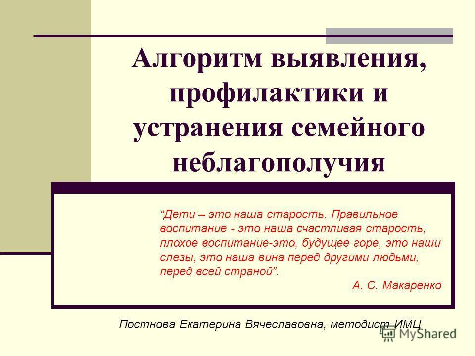 Алгоритм выявления, профилактики и устранения семейного неблагополучия Постнова Екатерина Вячеславовна, методист ИМЦ Дети – это наша старость. Правильное воспитание - это наша счастливая старость, плохое воспитание-это, будущее горе, это наши слезы,