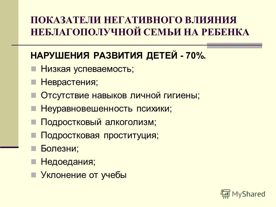 ПОКАЗАТЕЛИ НЕГАТИВНОГО ВЛИЯНИЯ НЕБЛАГОПОЛУЧНОЙ СЕМЬИ НА РЕБЕНКА НАРУШЕНИЯ РАЗВИТИЯ ДЕТЕЙ - 70%. Низкая успеваемость; Неврастения; Отсутствие навыков личной гигиены; Неуравновешенность психики; Подростковый алкоголизм; Подростковая проституция; Болезн