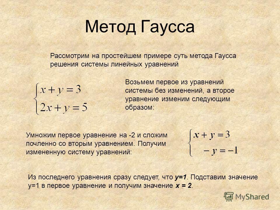 Метод Гаусса Рассмотрим на простейшем примере суть метода Гаусса решения системы линейных уравнений Возьмем первое из уравнений системы без изменений, а второе уравнение изменим следующим образом: Умножим первое уравнение на -2 и сложим почленноеее с