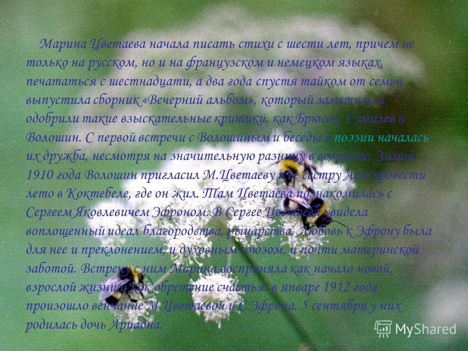 Марина Цветаева начала писать стихи с шести лет, причем не только на русском, но и на французском и немецком языках, печататься с шестнадцати, а два года спустя тайком от семьи выпустила сборник «Вечерний альбом», который заметили и одобрили такие вз