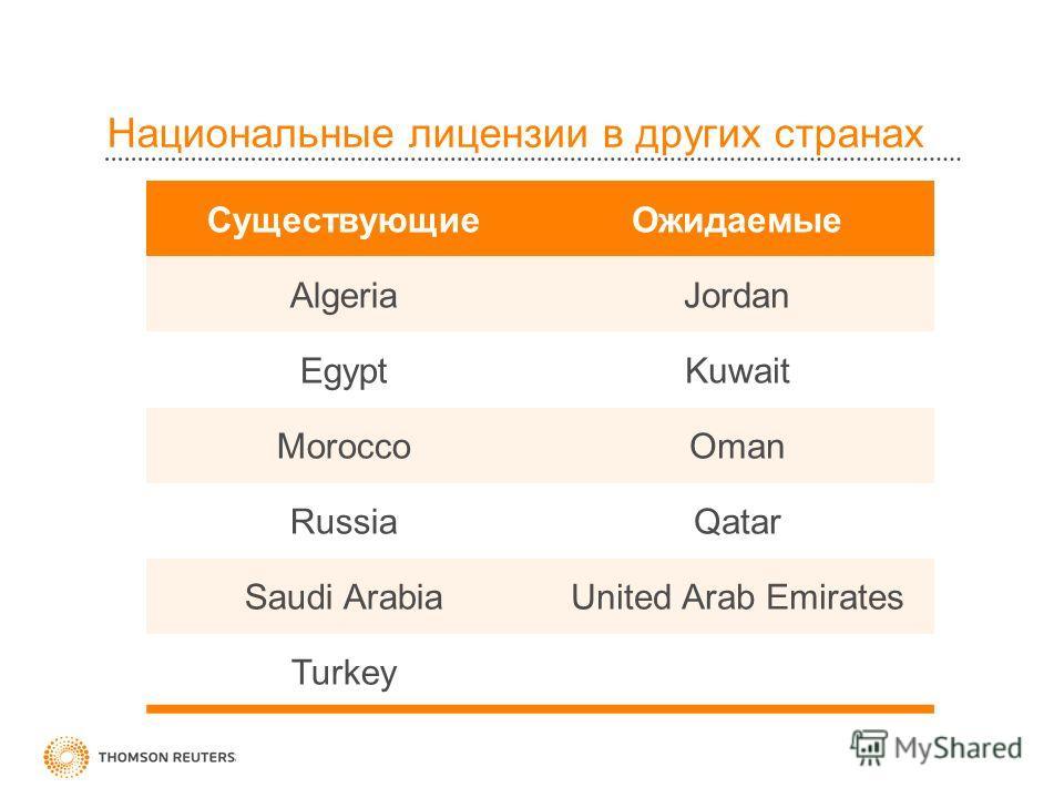 Национальные лицензии в других странах Существующие Ожидаемые AlgeriaJordan EgyptKuwait MoroccoOman RussiaQatar Saudi ArabiaUnited Arab Emirates Turkey