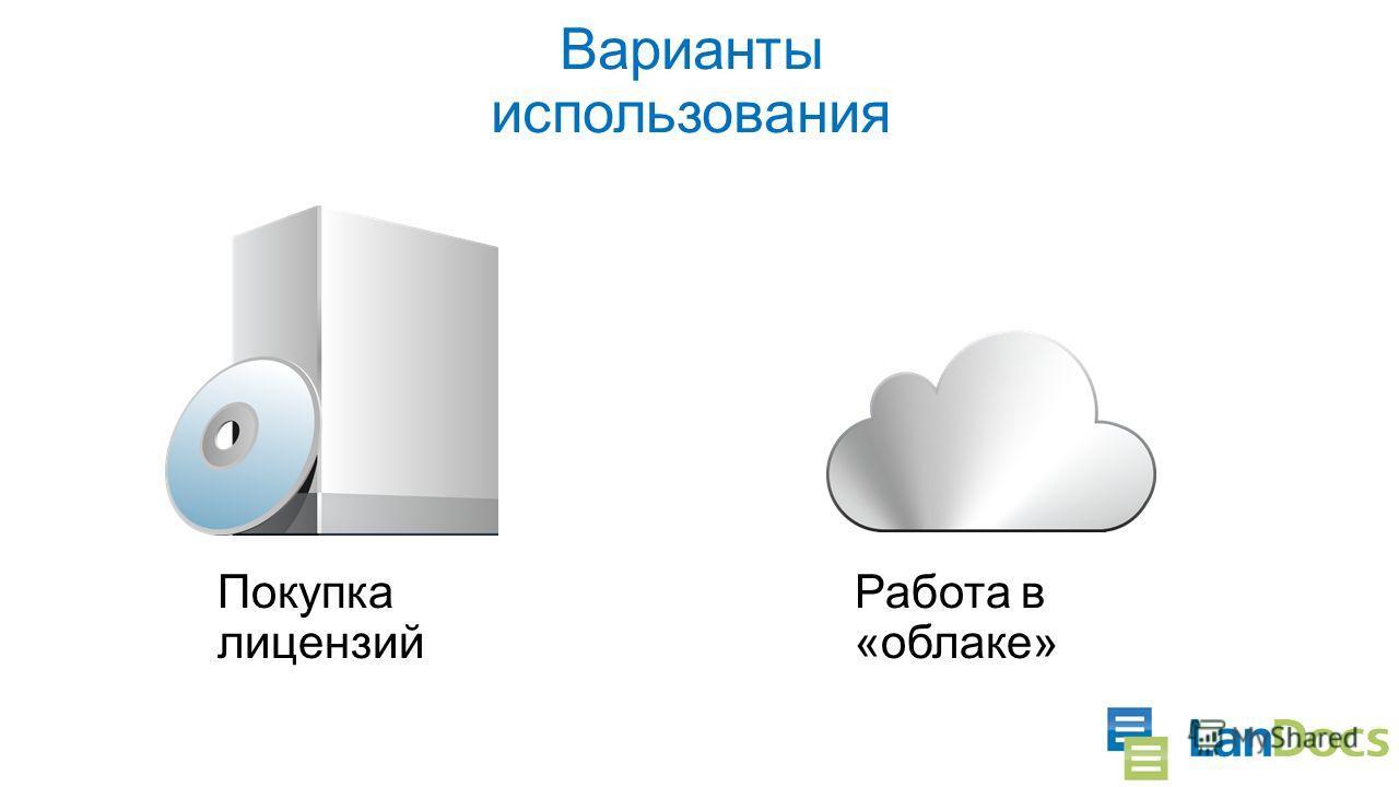 Варианты использования Покупка лицензий Работа в «облаке» Возможность изменить выбор в процессе использования