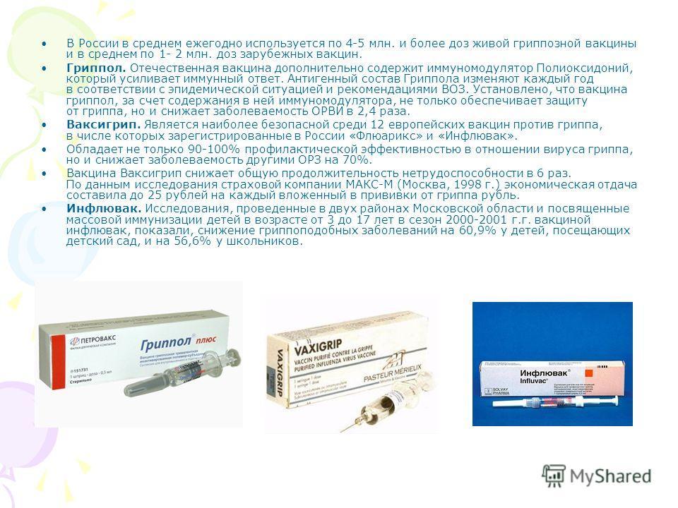 В России в среднем ежегодно используется по 4-5 млн. и более доз живой гриппозной вакцины и в среднем по 1- 2 млн. доз зарубежных вакцин. Гриппол. Отечественная вакцина дополнительно содержит иммуномодулятор Полиоксидоний, который усиливает иммунный
