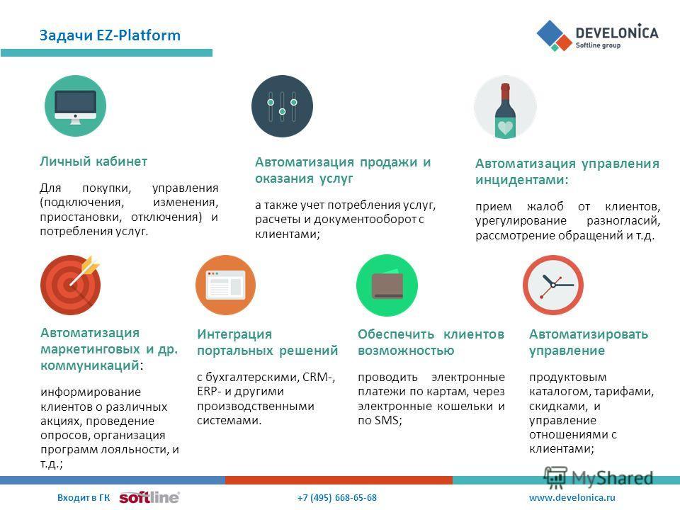 Задачи EZ-Platform +7 (495) 668-65-68 Входит в ГК www.develonica.ru Интеграция портальных решений c бухгалтерскими, CRM-, ERP- и другими производственными системами. Личный кабинет Для покупки, управления (подключения, изменения, приостановки, отключ