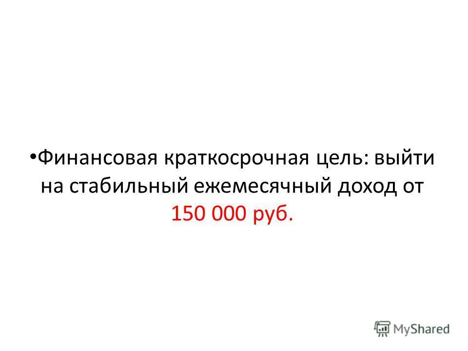 Финансовая краткосрочная цель: выйти на стабильный ежемесячный доход от 150 000 руб.