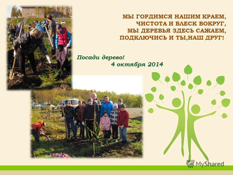 МЫ ГОРДИМСЯ НАШИМ КРАЕМ, ЧИСТОТА И БЛЕСК ВОКРУГ, МЫ ДЕРЕВЬЯ ЗДЕСЬ САЖАЕМ, ПОДКЛЮЧИСЬ И ТЫ,НАШ ДРУГ! Посади дерево! 4 октября 2014