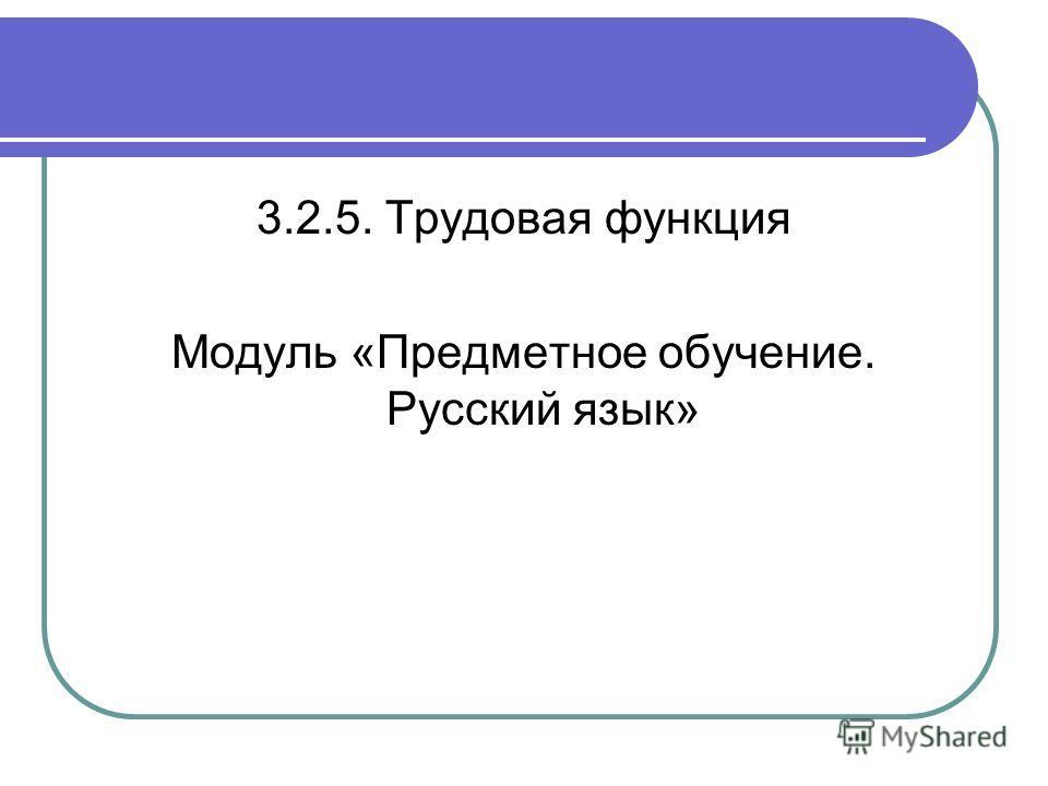 3.2.5. Трудовая функция Модуль «Предметное обучение. Русский язык»