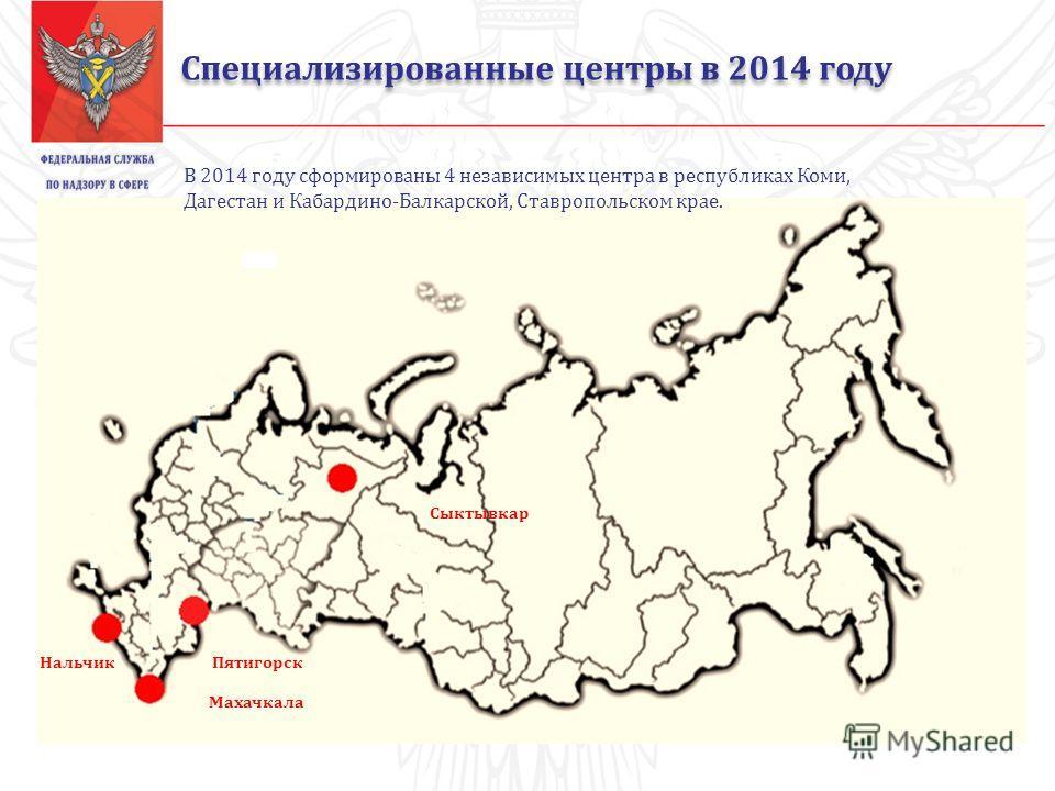 Специализированные центры в 2014 году Сыктывкар Пятигорск Махачкала Нальчик В 2014 году сформированы 4 независимых центра в республиках Коми, Дагестан и Кабардино-Балкарской, Ставропольском крае.