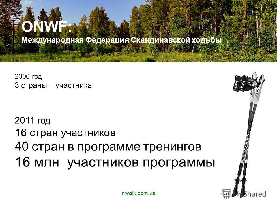 АПУЫАВП ONWF: Международная Федерация Скандинавской ходьбы 2000 год 3 страны – участника 2011 год 16 стран участников 40 стран в программе тренингов 16 млн участников программы nwalk.com.ua