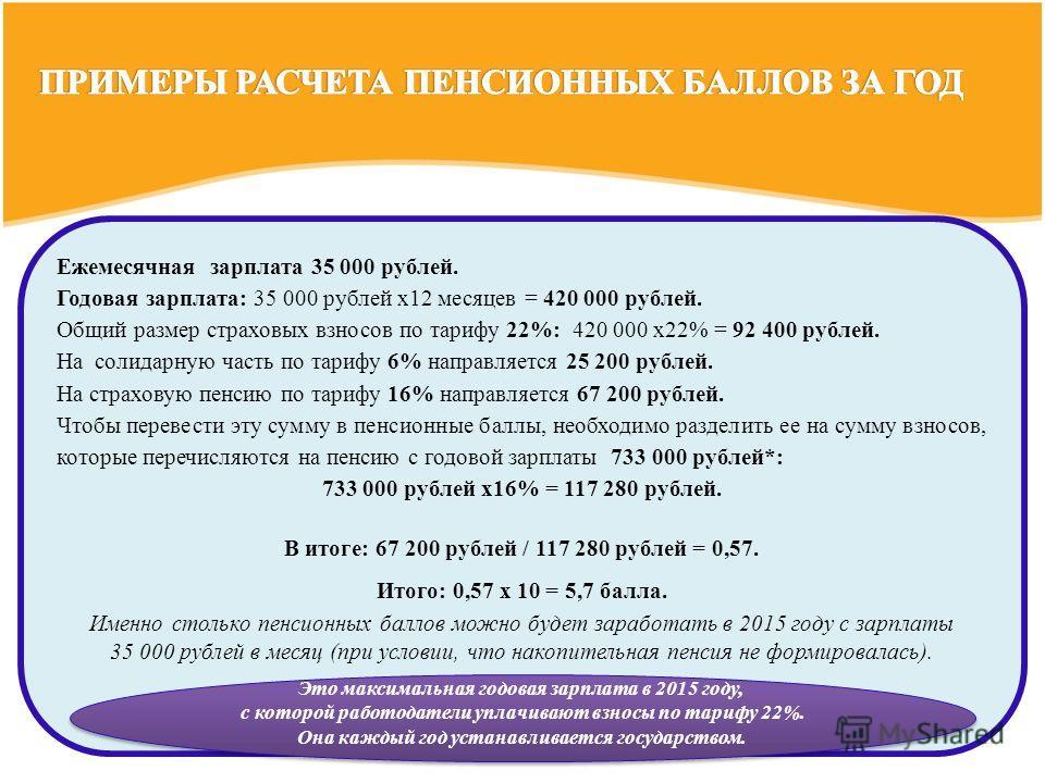 Ежемесячная зарплата 35 000 рублей. Годовая зарплата: 35 000 рублей х 12 месяцев = 420 000 рублей. Общий размер страховых взносов по тарифу 22%: 420 000 х 22% = 92 400 рублей. На солидарную часть по тарифу 6% направляется 25 200 рублей. На страховую