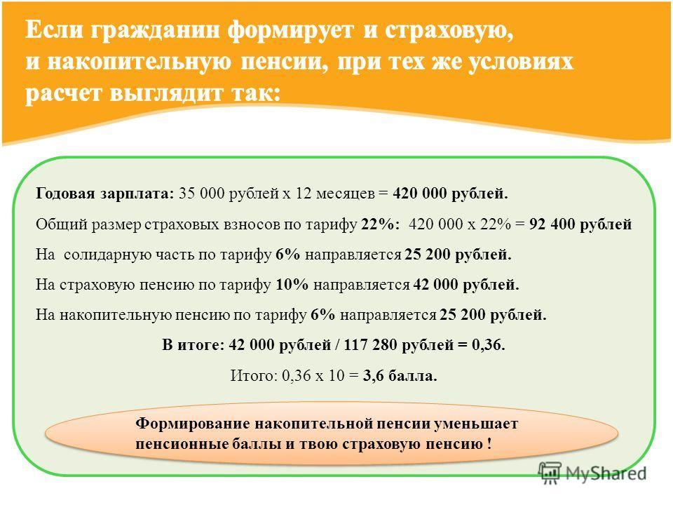 Годовая зарплата: 35 000 рублей х 12 месяцев = 420 000 рублей. Общий размер страховых взносов по тарифу 22%: 420 000 х 22% = 92 400 рублей На солидарную часть по тарифу 6% направляется 25 200 рублей. На страховую пенсию по тарифу 10% направляется 42