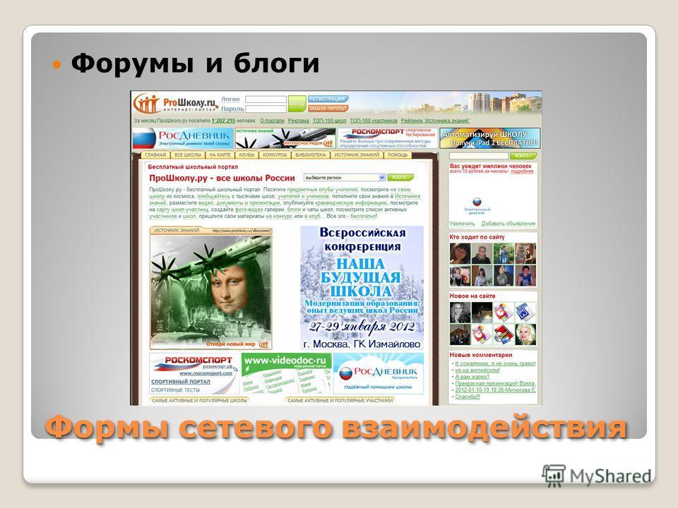 Формы сетевого взаимодействия Форумы и блоги