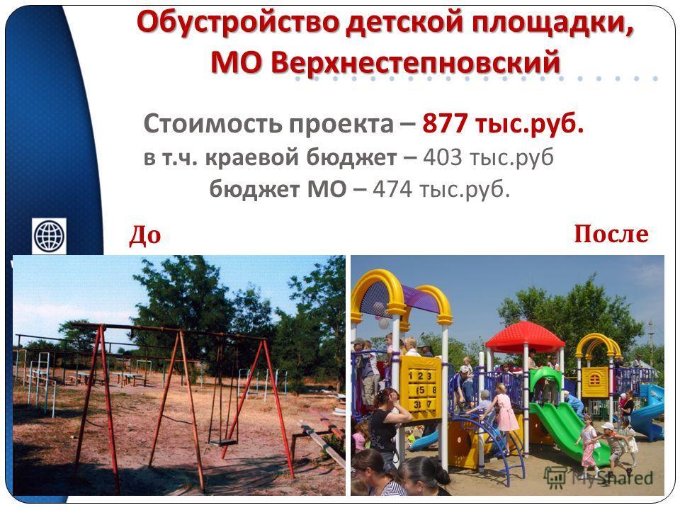 Обустройство детской площадки, МО Верхнестепновский Стоимость проекта – 877 тыс. руб. в т. ч. краевой бюджет – 403 тыс. руб бюджет МО – 474 тыс. руб. До После