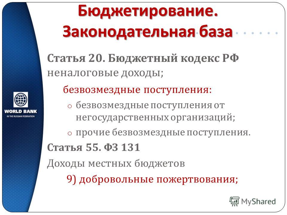 Бюджетирование. Законодательная база Статья 20. Бюджетный кодекс РФ неналоговые доходы ; безвозмездные поступления : o безвозмездные поступления от негосударственных организаций ; o прочие безвозмездные поступления. Статья 55. ФЗ 131 Доходы местных б