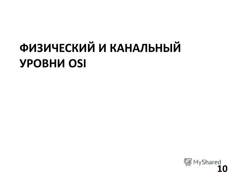 ФИЗИЧЕСКИЙ И КАНАЛЬНЫЙ УРОВНИ OSI 10