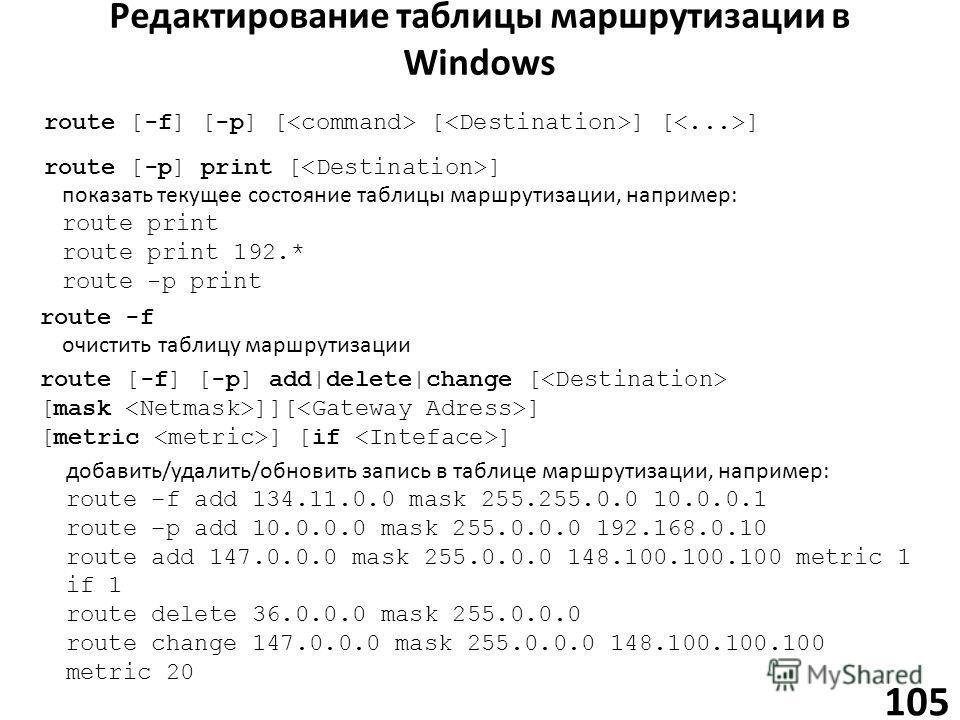 Редактирование таблицы маршрутизации в Windows 105 route [-p] print [ ] показать текущее состояние таблицы маршрутизации, например: route print route print 192.* route -p print route [-f] [-p] add|delete|change [ [mask ]][ ] [metric ] [if ] добавить/