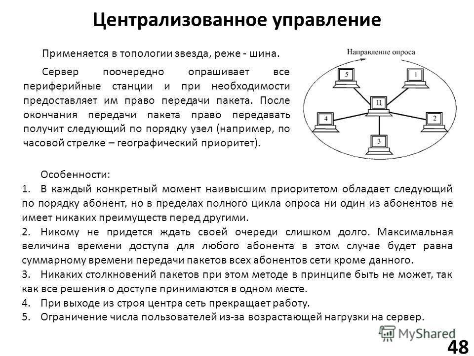 Централизованное управление 48 Применяется в топологии звезда, реже - шина. Сервер поочередно опрашивает все периферийные станции и при необходимости предоставляет им право передачи пакета. После окончания передачи пакета право передавать получит сле