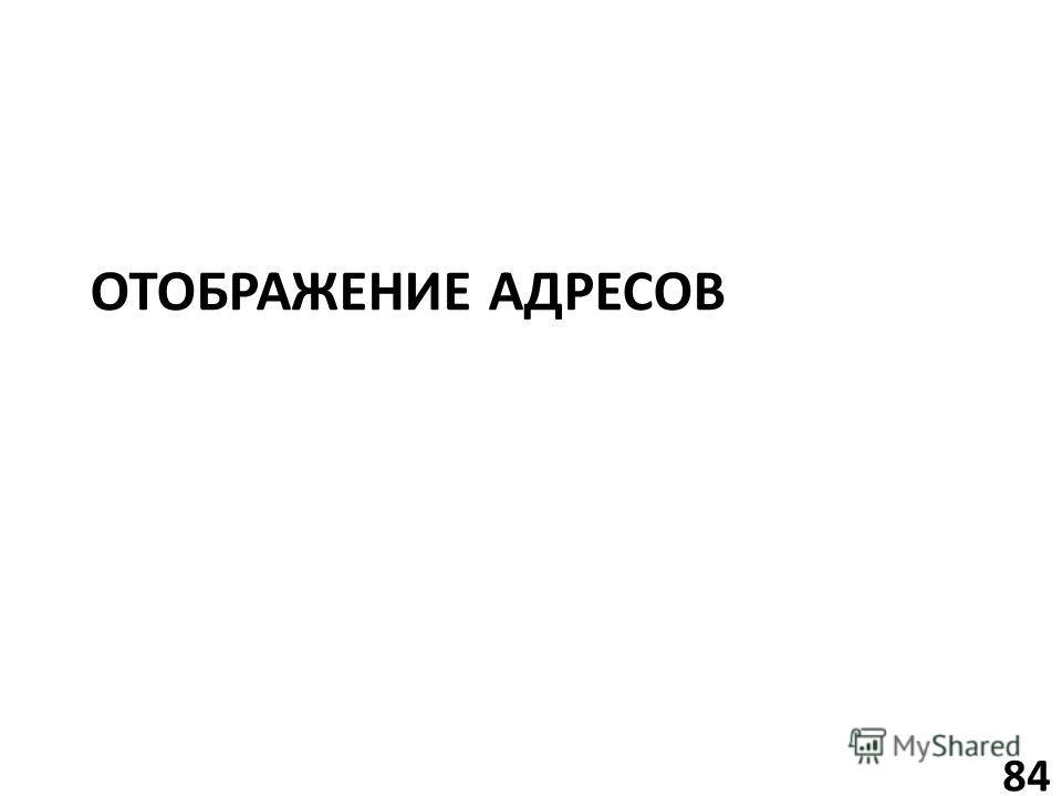ОТОБРАЖЕНИЕ АДРЕСОВ 84