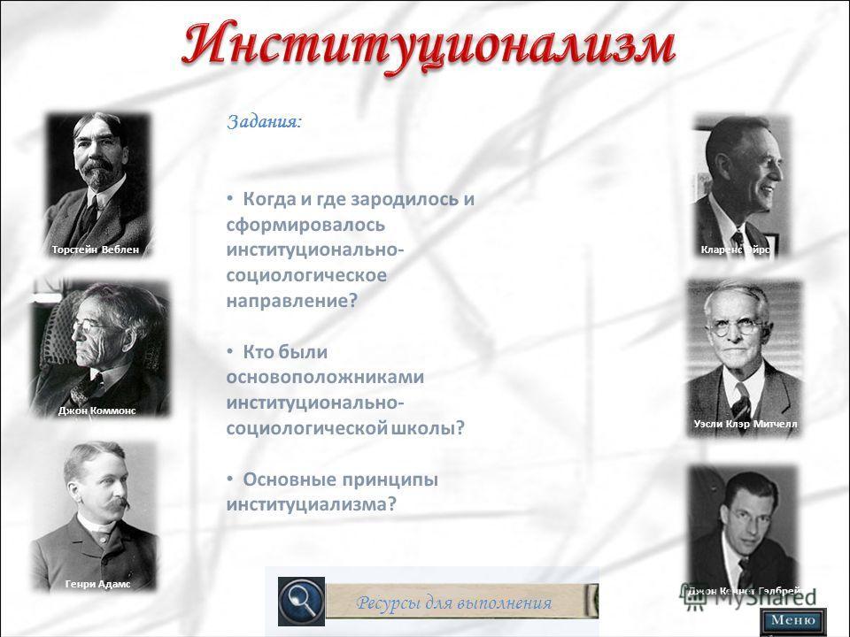 Выбор роли: Институционализм Неоклассическая экономическая теория Кейнсианство
