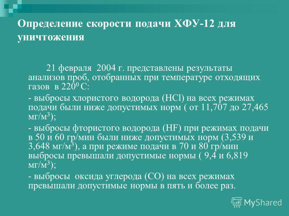 Определение скорости подачи ХФУ-12 для уничтожения 21 февраля 2004 г. представлены результаты анализов проб, отобранных при температуре отходящих газов в 220 0 С: - выбросы хлористого водорода (HCl) на всех режимах подачи были ниже допустимых норм (