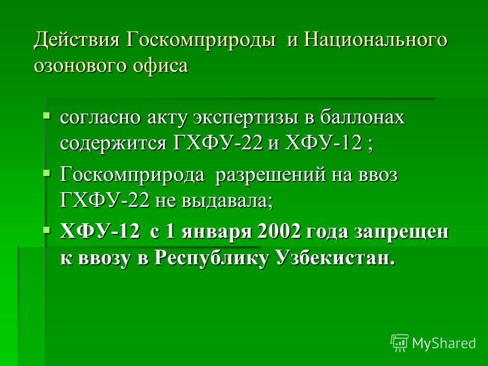 Действия Госкомприроды и Национального озонового офиса согласно акту экспертизы в баллонах содержится ГХФУ-22 и ХФУ-12 ; согласно акту экспертизы в баллонах содержится ГХФУ-22 и ХФУ-12 ; Госкомприрода разрешений на ввоз ГХФУ-22 не выдавала; Госкомпри