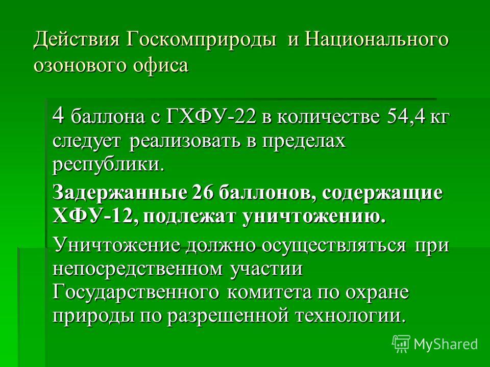 Действия Госкомприроды и Национального озонового офиса 4 баллона с ГХФУ-22 в количестве 54,4 кг следует реализовать в пределах республики. Задержанные 26 баллонов, содержащие ХФУ-12, подлежат уничтожению. Уничтожение должно осуществляться при непосре